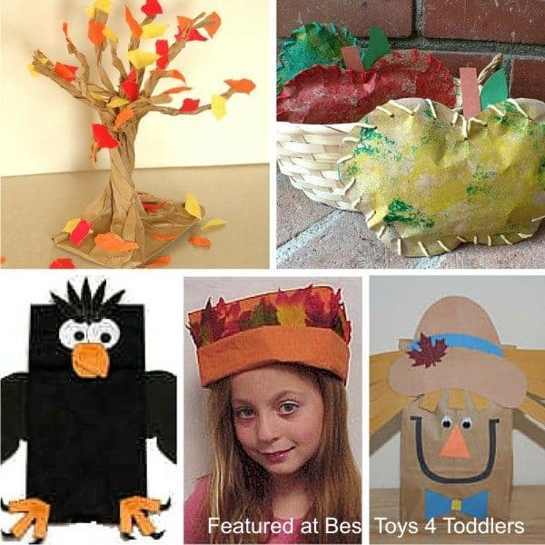 Simple autumn paper bag crafts for kids