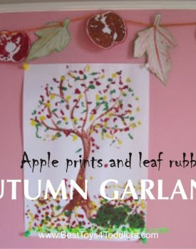 AUTUMN CRAFTS: apple prints and leaf rubbings garland