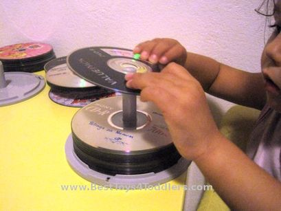 CD Spindle Fine Motor Activity for Toddlers