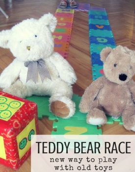 Best Toys 4 Toddlers - Teddy Bear Race - simple way to make old toys interesting again, and add brain break and movement to every day!