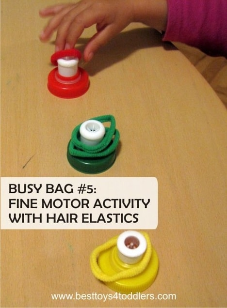 Best Toys 4 Toddlers - fine motor bottle cap and hair elastics busy bag