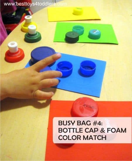 Best Toys 4 Toddlers - bottle cap and foam sheet color march busy bag
