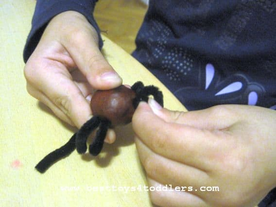 chestnut spiders craft for halloween www.besttoys4toddlers.com