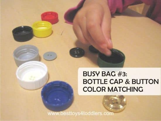 Best Toys 4 Toddlers - bottle cap and buttons color match busy bag