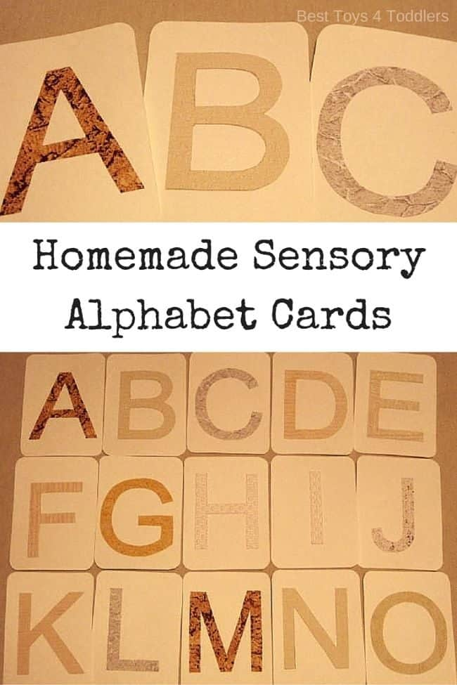 DIY Tactile Sensory Letter Cards made from wallpaper scraps - homemade sensory alphabet flashcards with template #montessori #DIYflashcards #homemadeflashcards #learnletters #learnalphabet #letters #alphabet #literacy #besttoys4tots #learningtools #sensoryplay