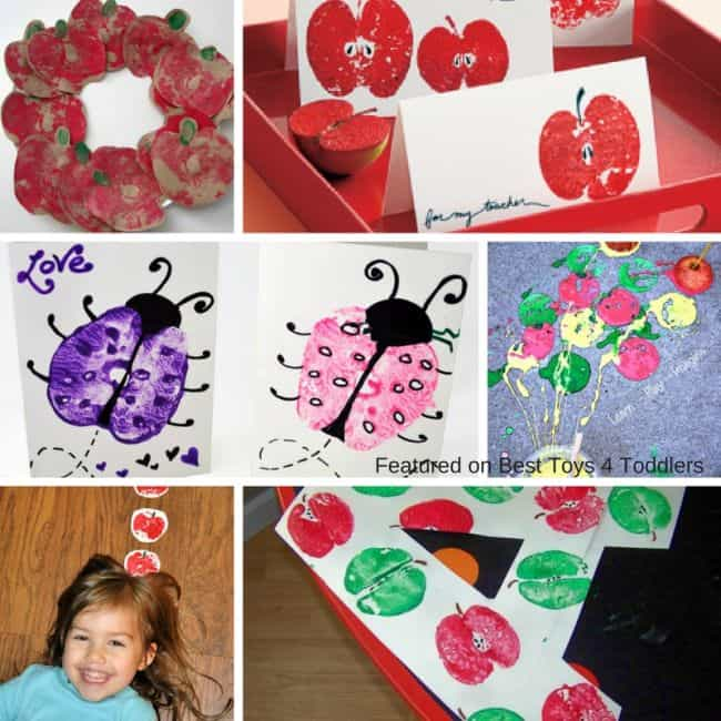 Best Toys 4 Toddlers - Fun ideas with apple prints for learning and crafting with kids
