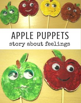 Best Toys 4 Toddlers - Make your own apple print puppets and use to talk with toddlers about feelings