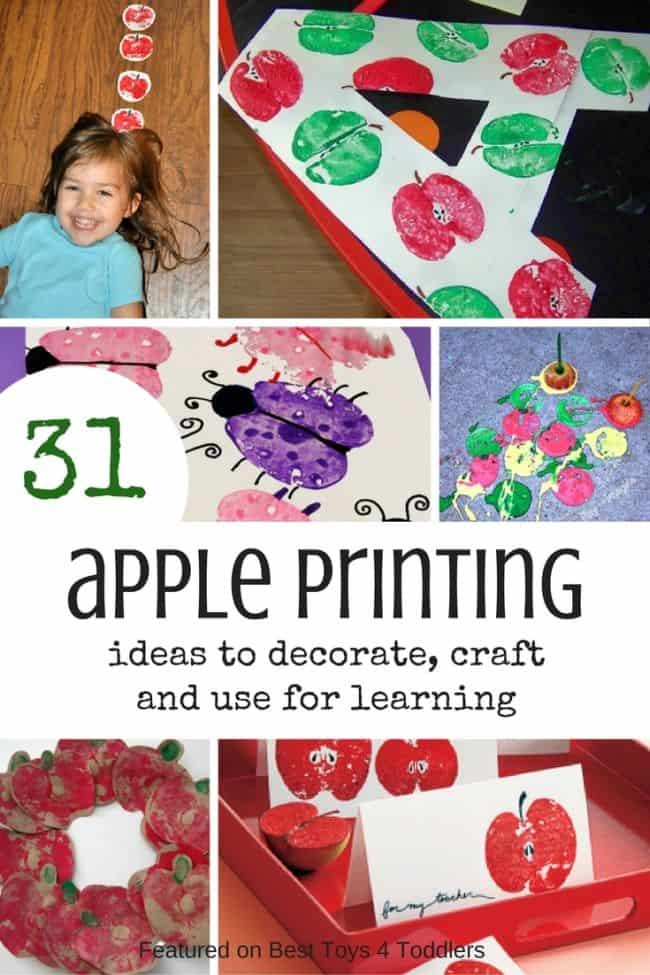 Best Toys 4 Toddlers - 31 Ideas to use apple printing and stamping for decoration, crafting, art and learning with toddlers and preschoolers!