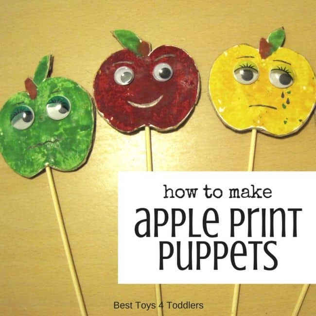 Simple toy to make with kids - apple puppets made from apple prints