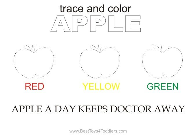Trace and color apple sheet autumn theme for toddlers and preschoolers