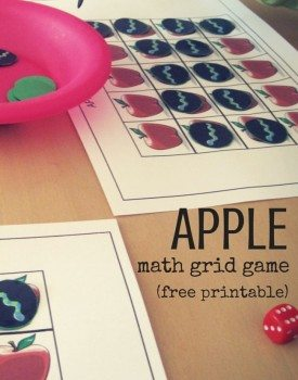 Printable Apple Math Grid Game
