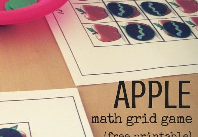 Best Toys 4 Toddlers - Apple Math Grid Game (free printable) - counting, work on number recognition and taking turns with toddlers and preschoolers