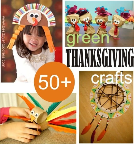 50+ Green Thanksgiving Crafts for Kids - cheap and simple crafts from recycle bin for home, school or kindergarten