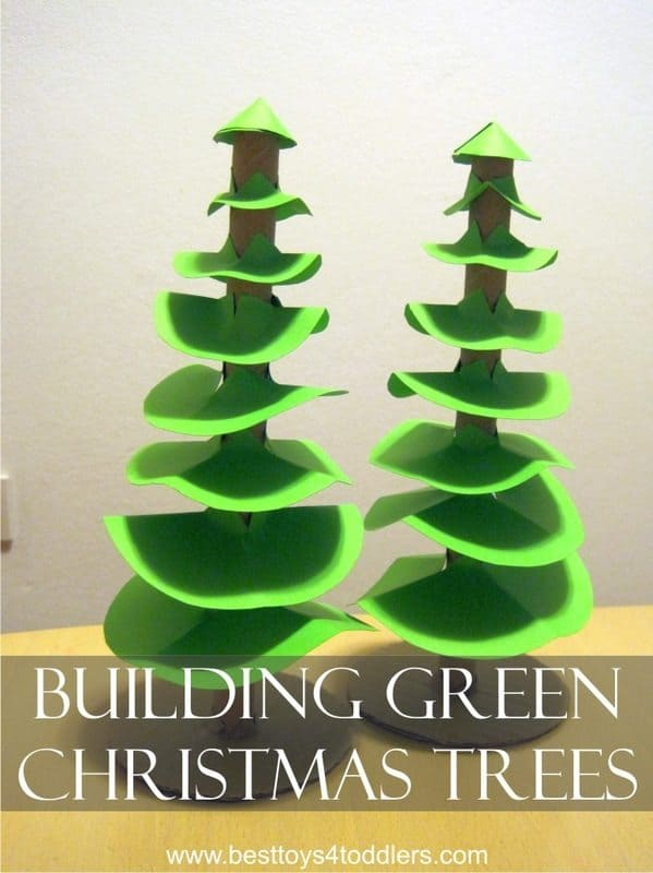 Building Green Christmas Tree - fine motor skill practice for toddlers and tracing and cutting practice for preschooler and school aged kids
