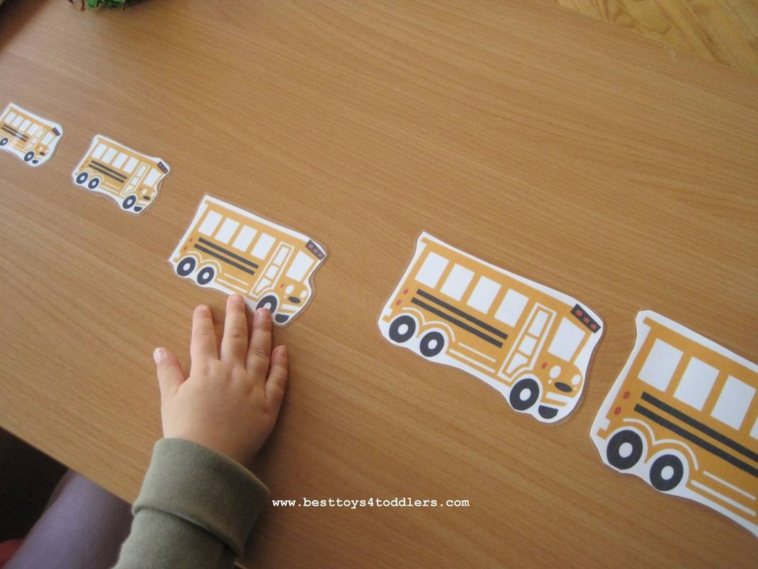Wheels on the Bus size sequencing free printable for toddlers and preschoolers