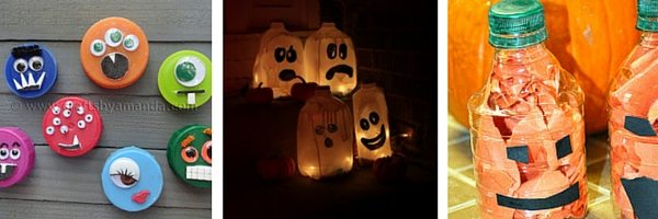 Recycled plastic crafts for Halloween