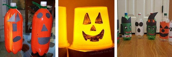 Upcycle plastic bottles and cups for Halloween crafts with kids