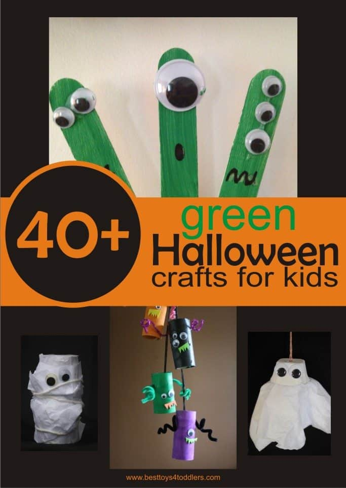 40+ green Halloween craftswith items from recycle bin to craft with kids