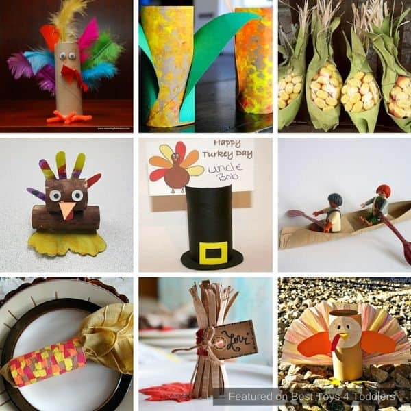 Thanksgiving crafts for kids created using toilet paper rolls.