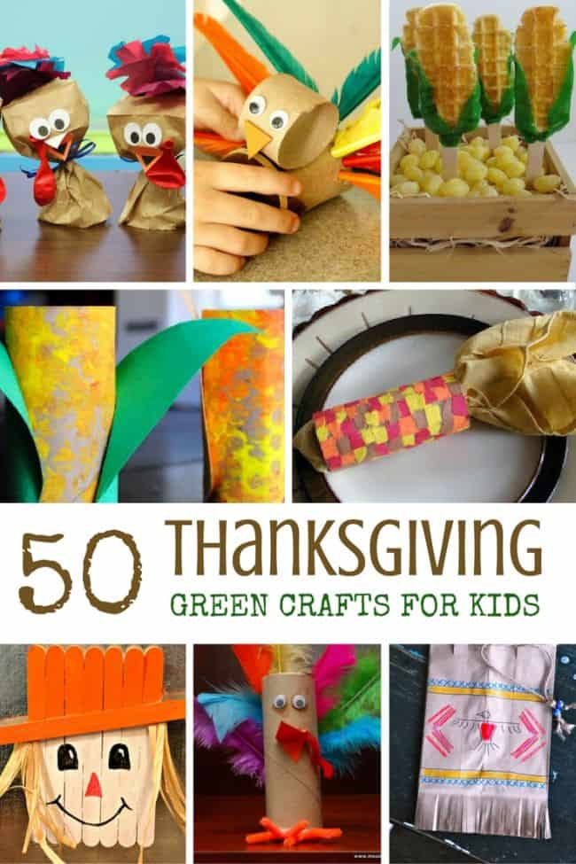 More than 50 green Thanksgiving crafts for kids with items from the recycle bin to enjoy!