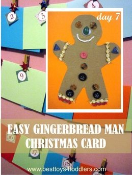 Easy Gingerbread Man Christmas Card - Day 8 in Blank Christmas Cards Advent Countdown