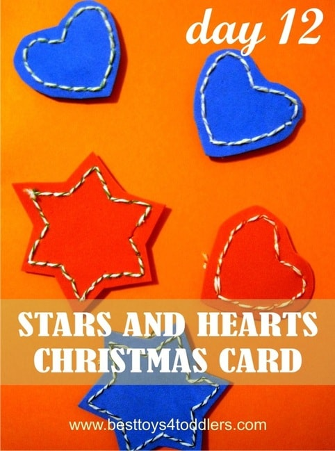 Kid Made - Stars and Hearts Christmas Card - Day 12 in Blank Christmas Cards Advent Countdown