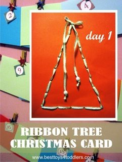 Kid Made Ribbon Christmas Tree Card - Day 1 in Blank Christmas Cards Advent Countdown