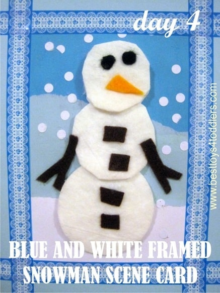 Blue and White Framed Snowman Scene Card - Day 4 in Blank Christmas Cards Advent Countdown