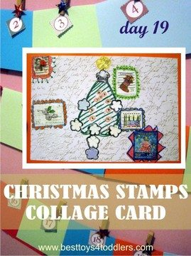 Christmas Stamps Collage Card - Day 19 in Blank Christmas Cards Advent Calendar
