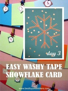 Easy Washy Tape Snowflake Christmas Card - Day 3 in Blank Christmas Cards Advent Countdown