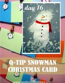 Q-tip Snowman Christmas Card