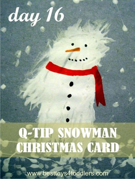 Q-tip snowman Christmas Card - Day 16 in Blank Christmas Cards Advent Countdown with Kids