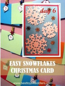Easy Snowflakes Christmas Card - Day 6 in Blank Christmas Cards Advent Countdown