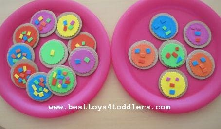 Coorful Christmas cookies with toddlers
