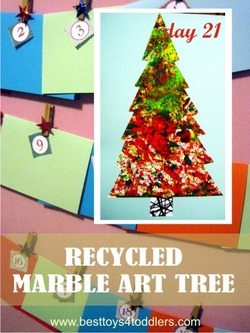 Recycled Marble Art Tree - Day 21 of Blank Christmas Cards Advent Countdown