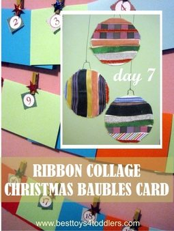 Ribbon Collage Christmas Baubles Card - Day 7 in Blank Christmas Cards Advent Countdown