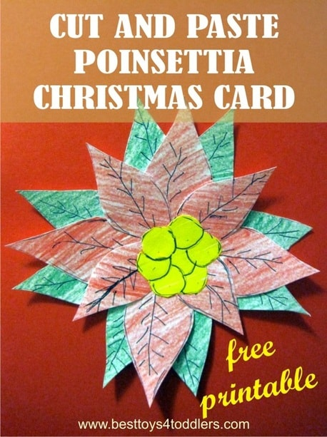 Free Printable Cut and Paste Poinsettia Christmas Card - Day 13 in Blank Christmas Cards Advent Countdown with Kids - 2 versions available (full color or black and white for kids to color)