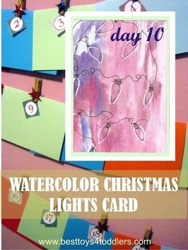 Watercolor Christmas Lights Card - Day 10 in Blank Christmas Cards Advent Countdown