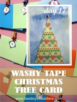 Kid Made Washy Tape Christmas Tree Card - Day 17 in Blank Christmas Cards Advent Countdown