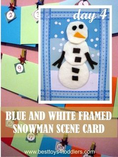 Blue and White Framed Snowman Scene Card
