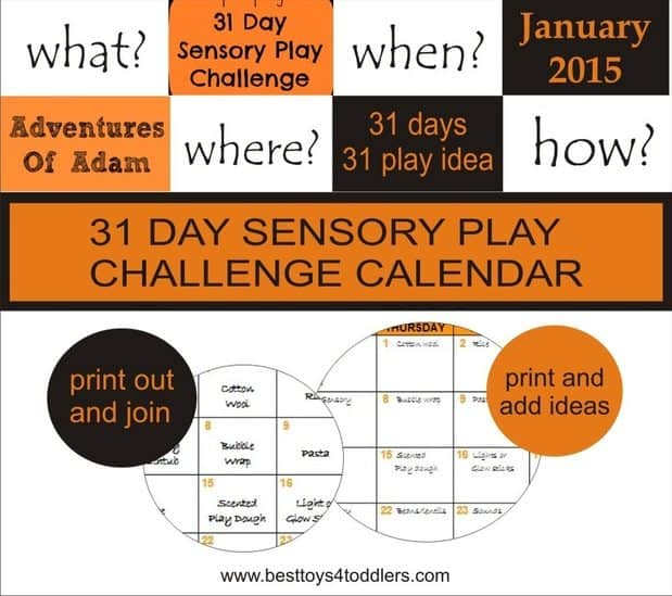 31 Day Sensory Play Chalenge Calendar - January 2015. Join in and have bunch of sensory fun with your kids!