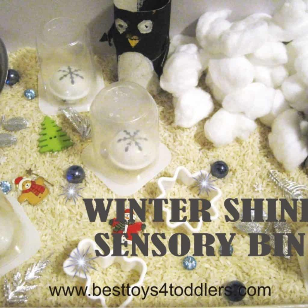 winter sensory bin baed on white rice