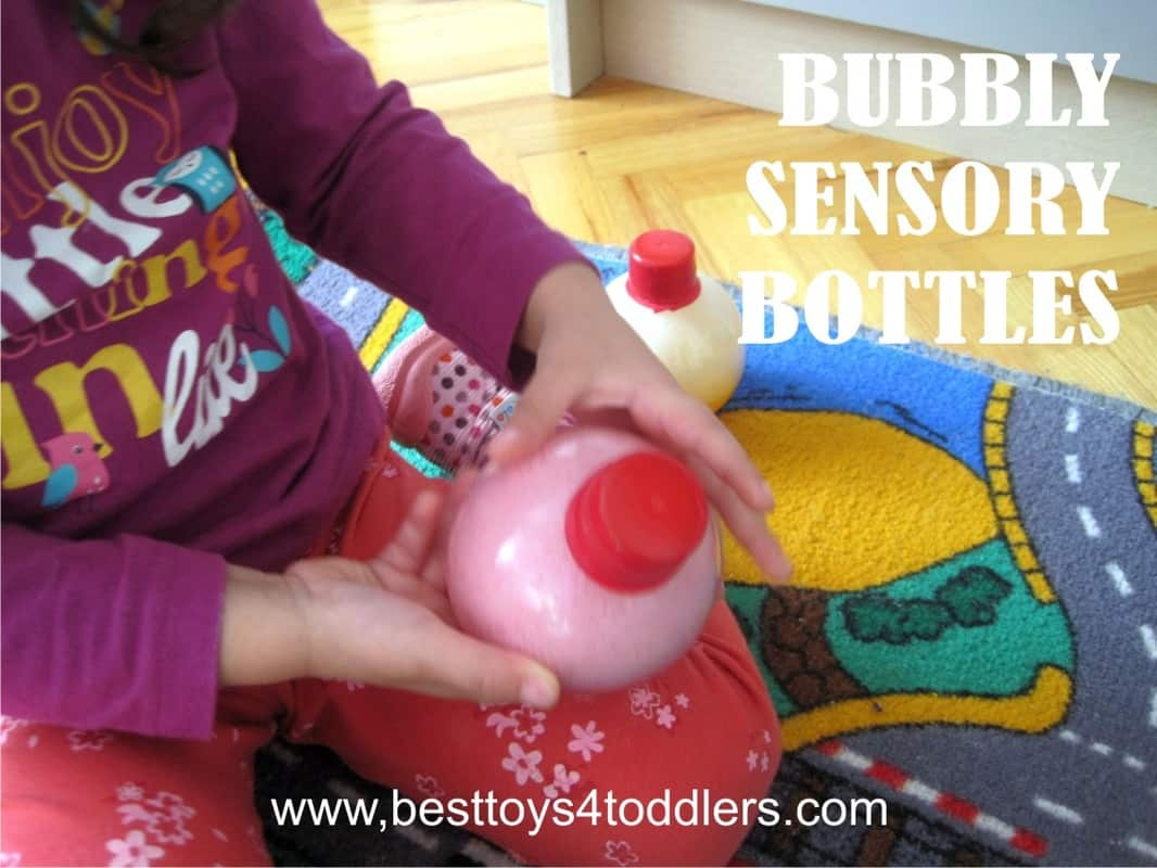 Bubbly Sensory Bottles - #31DaySensoryPlayChallenge - containing bubbles inside a plastic bottle makes it no-mess sensory activity