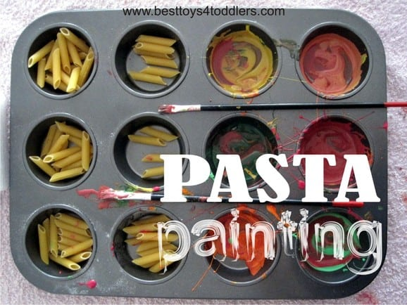 Pasta Painting for #31DaySensoryPlayChallenge