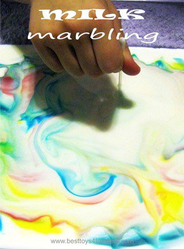 Milk Marbling - experimenting with milk and food color and creating amazing effects