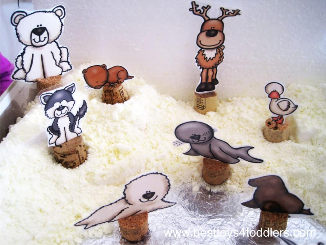 Arctic Small World Play with toddler safe snow dough