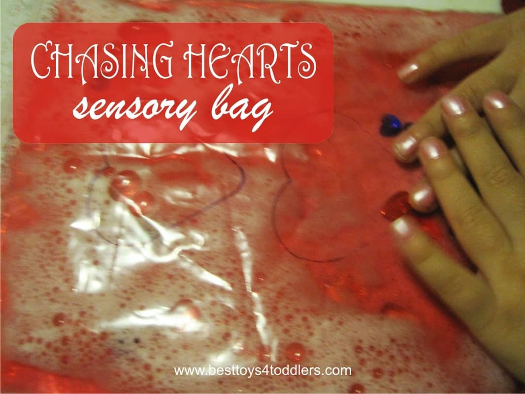 Chasing Hearts Sensory Bag - easy Valentine's day sensory activity for toddlers