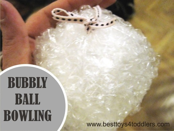 Bubbly Ball Bowling - playing with bubble wrap