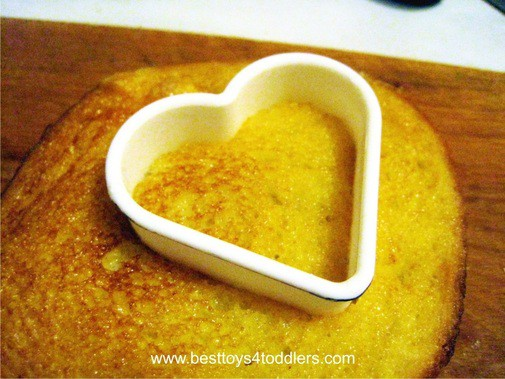 French Toast Heart on a Stick - edible play for picky toddlers and older kids, perfect for Valentine's day menu