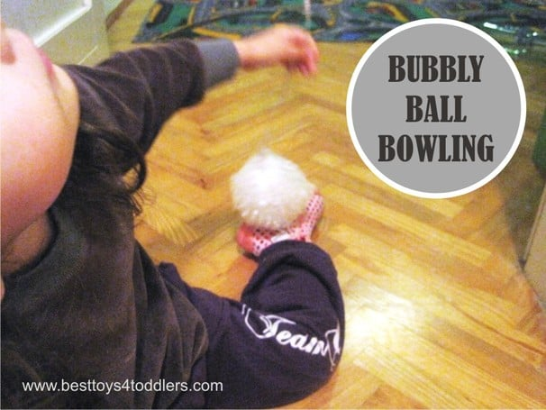 Bubbly Ball Bowling - playing with bubble wrap #31DaySensoryPlayChallenge